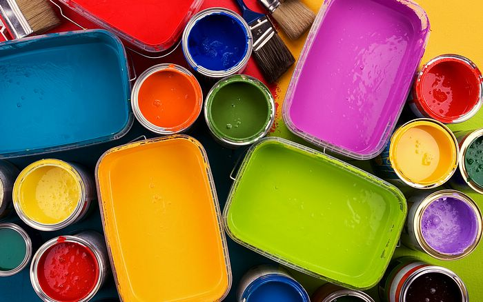Colorful oil paints in opened paint bucket Picture 12 ...