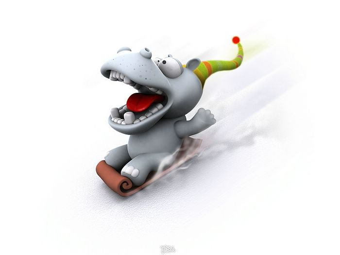 Funny 3D Animal Cartoons - 3D Hippo - Funny 3D Cartoon Hippo Wallpaper ...