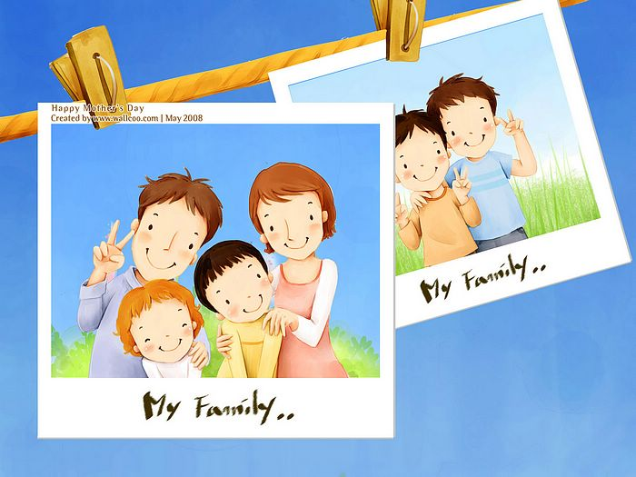 1600*1200  Children's illustration of Mother Day and Family Love - 1680*1050 Sweet Family illustration -  Cartoon illustration of happy Family13