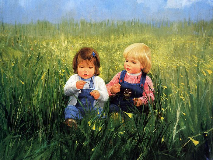Early childhood friendship and flowers donald zolan for Paintings of toddlers