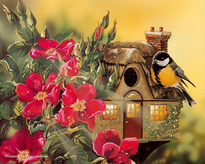 Birds paintings beautiful little bird and cute birdhouse for Beautiful painting images